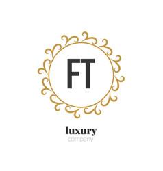 initial letter ft luxury creative design logo vector image