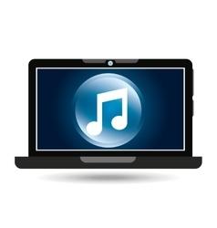 Laptop blue display music social media vector