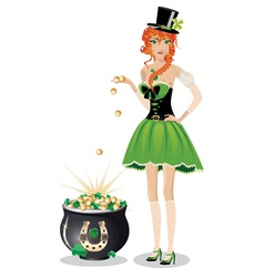 Leprechaun girl with pot of gold2 vector image
