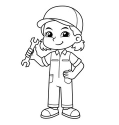 Mechanic girl holding wrench ready to fixing bw vector