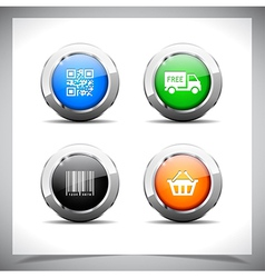 Metal web buttons eps10 vector image