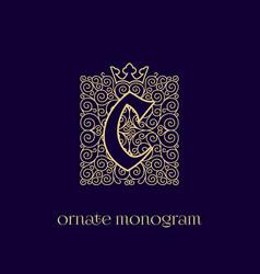 Monogram with crown c vector