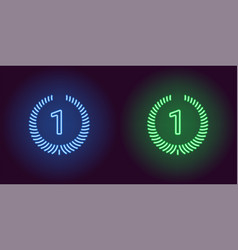 Neon icon of blue and green first place vector