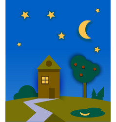 Night time nature landscape with house moon and vector