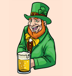 Old leprechaun hold a glass of beer vector
