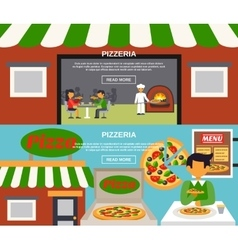 Pizzeria Banners Set vector