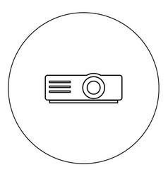 projector icon black color in circle vector image