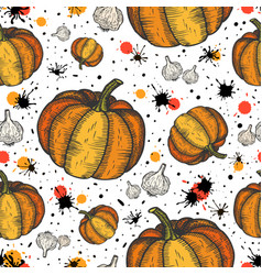 Pumpkin and garlic seamless pattern abstract vector