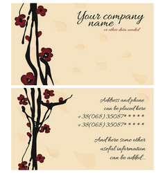 Sakura cherry business card vector