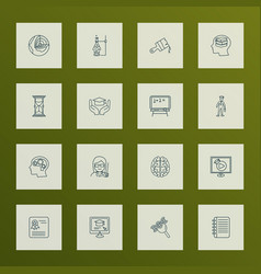 school icons line style set with online education vector image