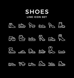 set line icons shoes vector image