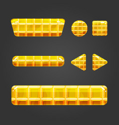 set of waffle button for game design vector image