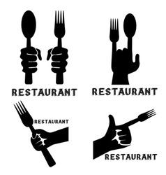Set vintage emblems restaurant with hands vector