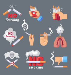 Smoke icon lungs and cigarette inhalation vector