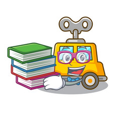 Student with book clockwork toy car isolated on vector
