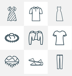Style icons line style set with poncho polo shirt vector