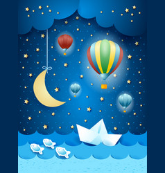 surreal seascape with hot air balloons and paper vector image
