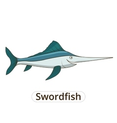 Swordfish underwater animal cartoon vector image