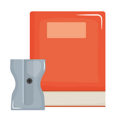 text book school with sharpener vector image
