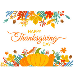 thanksgiving day hand drawn happy vector image