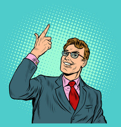 The businessman smiles a greeting gesture vector