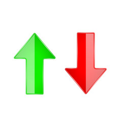 Up and down arrows 3d shiny glass icons red vector