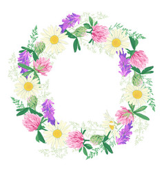 Wildflowers wreath isolated on white vector