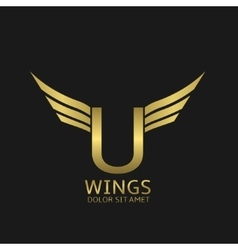 Wings U letter logo vector