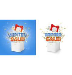 winter sale gift box concept for banner vector image