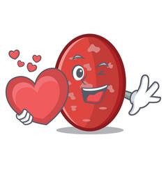 With heart salami mascot cartoon style vector