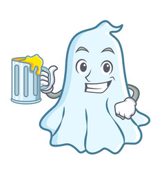With juice cute ghost character cartoon vector