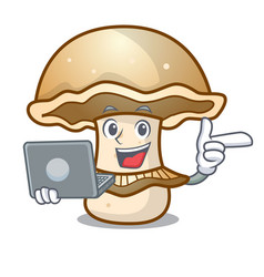 With laptop portobello mushroom character cartoon vector