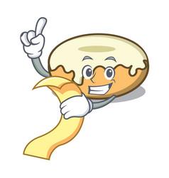 With menu donut with sugar mascot cartoon vector