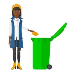 Woman throwing trash vector