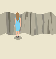 young woman standing and looking at the edge of a vector image