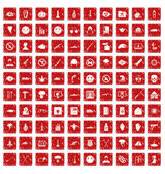 100 oppression icons set grunge red vector image vector image