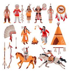 american indians decorative icons set vector image