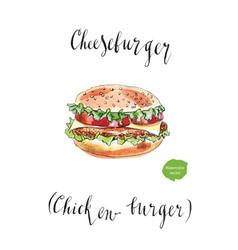 big american cheeseburger vector image