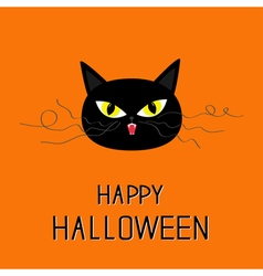 Black cat head Yellow eyes fangs curl moustaches vector image vector image