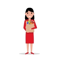 cartoon woman with paper bag full food vector image vector image