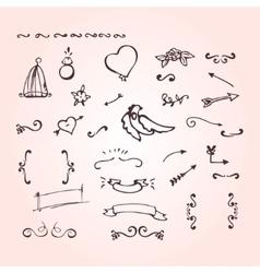 Doodle elements of ornate arrow heart flower vector image vector image