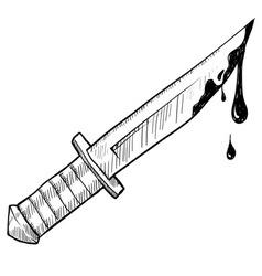 Doodle knife murder vector