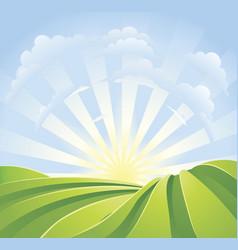 idyllic green fields with sunshine rays vector image