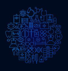 medicine line icon circle concept vector image