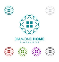 Real estate logo with diamond and home vector image vector image
