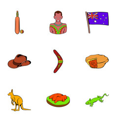 australian travel icons set cartoon style vector image vector image