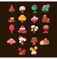 Chocolate landscape elements set vector