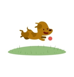 Cute Doggy play and running with red ball vector image