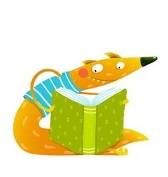 Fun colorful fox reading kids book vector image vector image