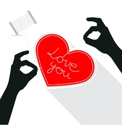 Hands Sewing Love You Title on Paper Red Heart vector image vector image